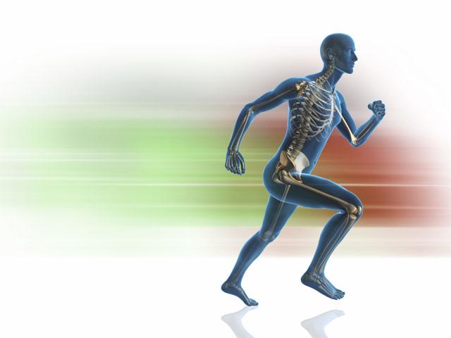 Blue man running