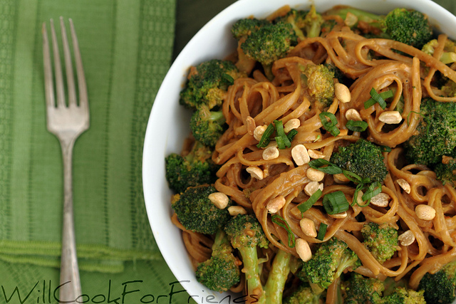 Linguini and Broccoli over Spicy Peanut Sauce