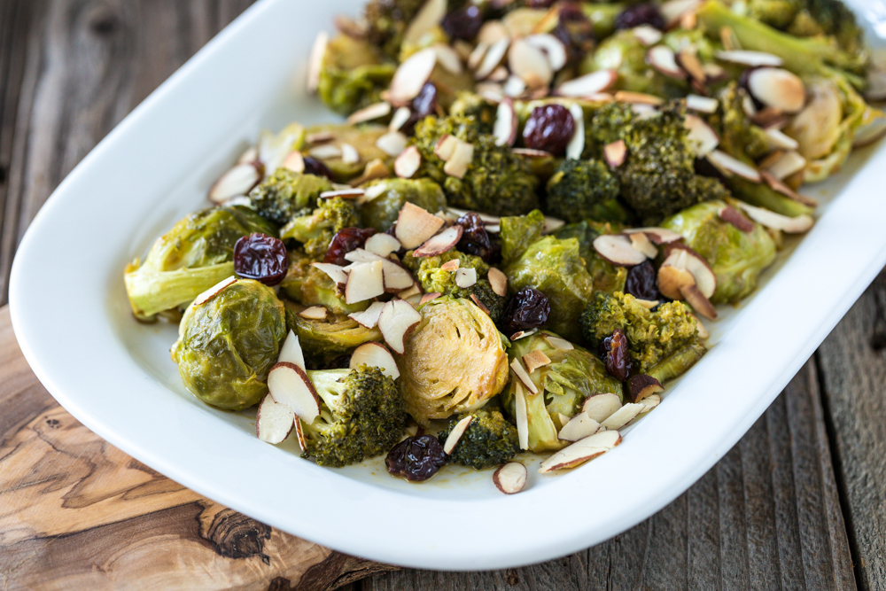 Roasted Brussels Sprouts and Broccoli with Dried Cherries and Almonds